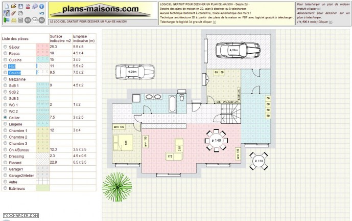 Logiciel gratuit d 39 architecture d int rieur en 2d et 3d for Application plan de maison