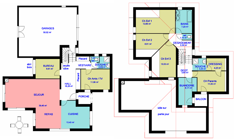 Plan maison interieur gratuit for Plan maison 3 faces