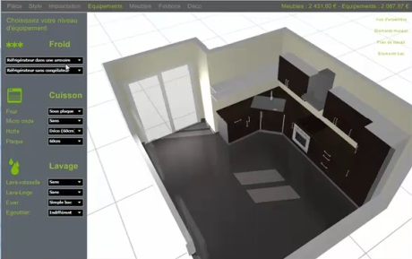 logiciel gratuit de conception de cuisine plan 3d et agencement. Black Bedroom Furniture Sets. Home Design Ideas